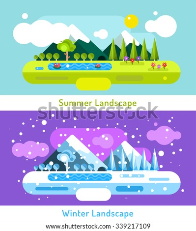Abstract outdoor summer and winter landscape. Trees nature signs, mountains, river or lake, sun clouds, flowers, cave, snow ice, cold. Design elements - stock photo