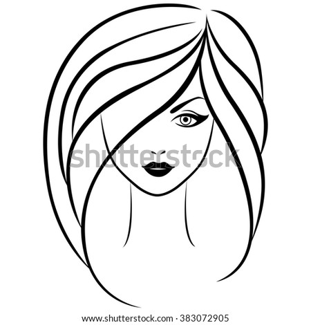 Abstract outline portrait of young beautiful girl with long hair
