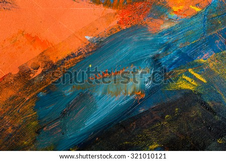Abstract pained canvas. Oil paints on a palette. Colorful background - stock photo