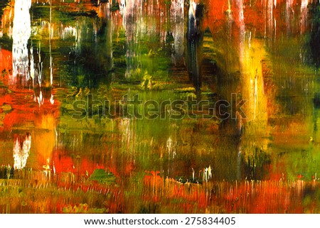 Abstract pained canvas. Oil paints on a palette. Colorful green background. - stock photo