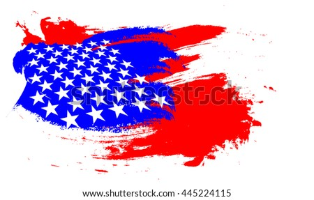abstract paint brush flag of USA for American Independence Day on white background. - stock photo