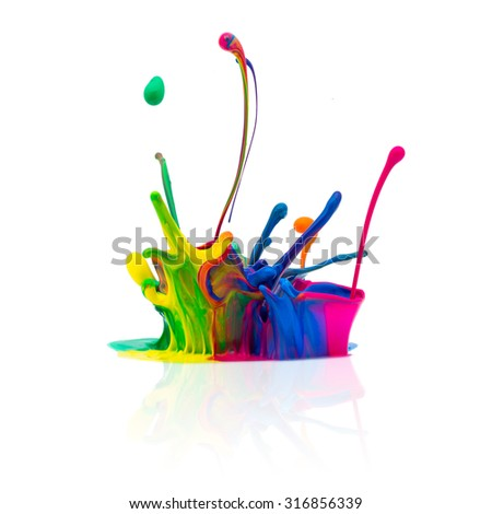 abstract paint splashing - stock photo