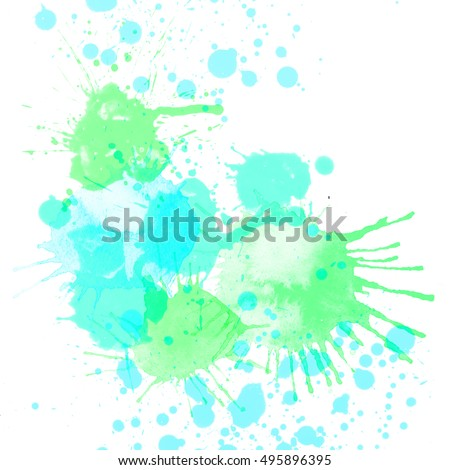 Abstract paint spots on a white background. Acidic color, pastel bright blots and splashes of watercolor paints.