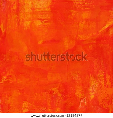 Abstract painted background/ texture in different shades of red, yellow and orange. Art is created and painted by myself. No filter used. - stock photo