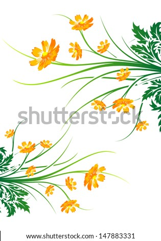 Abstract painted background with flowers - stock photo