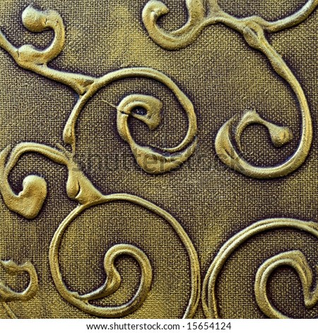 Abstract painted christmas background pattern in old antique textured bronze and gold ornamental design - stock photo