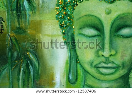 Abstract painted detail of face from buddha and bamboo leaves in beautyfull shades of green. Art is created and painted by photographer. - stock photo