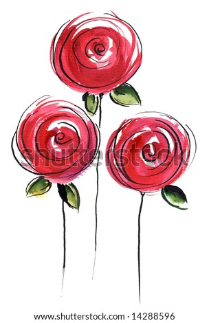 Abstract painted floral background in different shades of rose and red with romantically pink roses flowers on white. Art is created and painted by photographer - stock photo