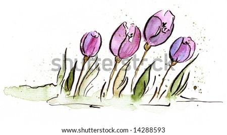 Abstract painted floral background with violet tulip flowers and green leaves on white. Art is painted and created by photographer