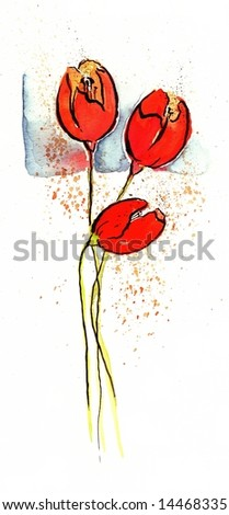 Abstract painted floral design with red tulip flowers and splashes in front of blue on white background. Art is painted and created by photographer - stock photo