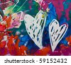 Abstract painted heart, artwork is created and painted by myself - stock photo