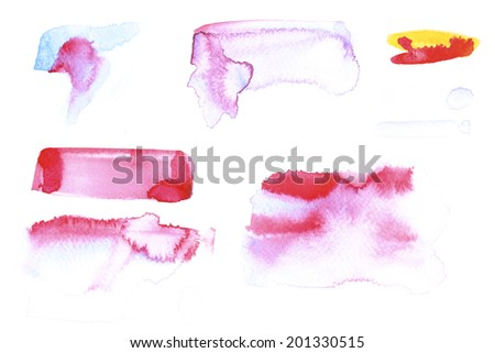 Abstract painted ink strokes set. - stock photo