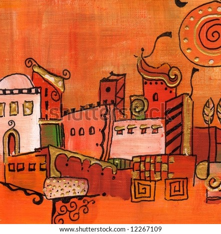 Abstract painted oriental village in onamental fairy tales style with patterns.  Artwork is created and painted by photographer. - stock photo