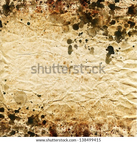 Abstract painting background on grunge paper texture, Brown watercolor stain and splash - stock photo