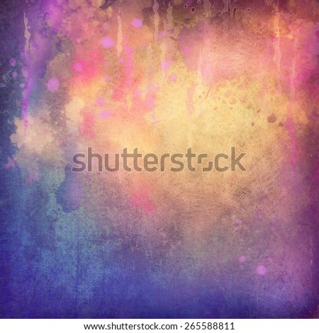 Abstract painting background with canvas grunge texture, watercolor streaks - stock photo