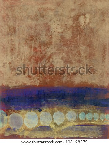Abstract painting brown with blues and circles.