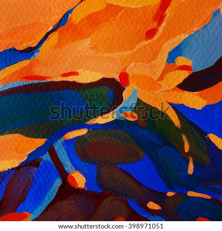 abstract painting by oil on canvas for interior, illustration - stock photo