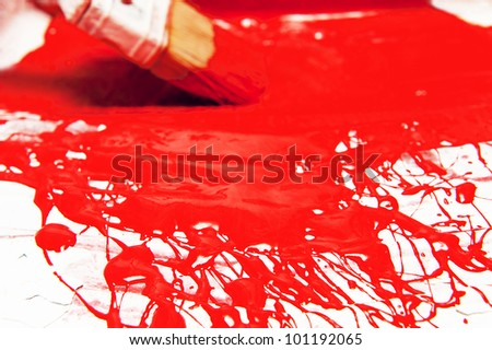 abstract painting in a vessels with a blur brush in  background b - stock photo