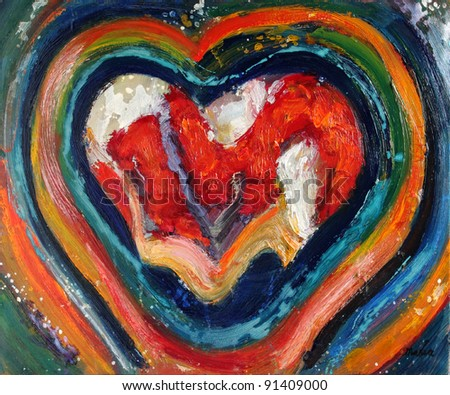 Abstract painting in mixed media with heart shapes. - stock photo