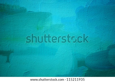abstract painting in turquoise tones, illustration, background - stock photo