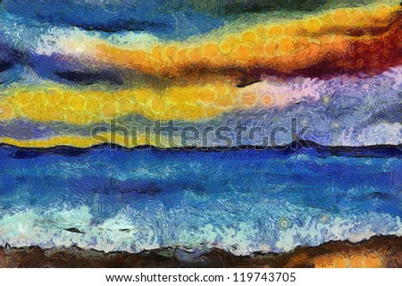 Abstract painting of a Beach