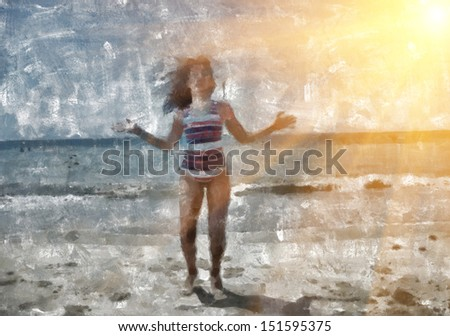 Abstract painting of, little girl jumping on the beach - stock photo