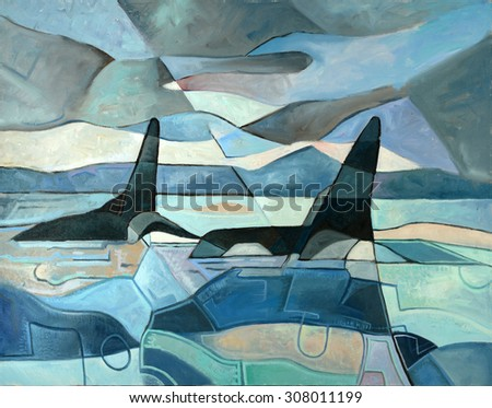 Abstract painting of two killer whales swimming. Oil on Canvas - stock photo