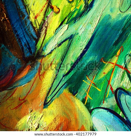 abstract painting on a religious theme by oil on a canvas, illustration - stock photo