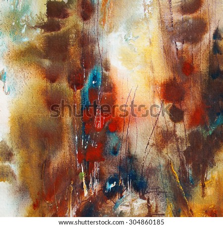 Abstract painting on handmade paper, artistic background - stock photo