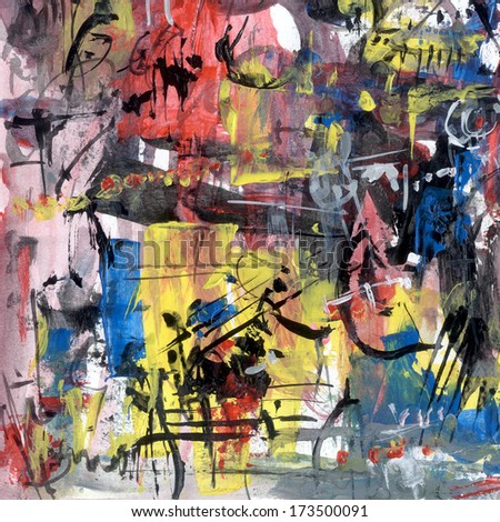 Abstract painting on paper, artistic background - stock photo