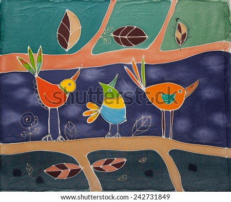 Abstract painting on silk with birds. Original hand painted.Trio - stock photo