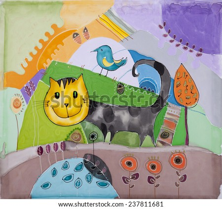 Abstract painting on silk with cat. Original hand painted. - stock photo