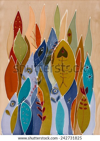 Abstract painting on silk with fish. Original hand painted. Sea dream - stock photo