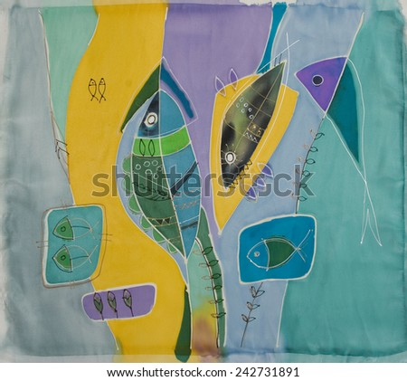 Abstract painting on silk with sea fish. Original hand painted. Undetectaible - stock photo