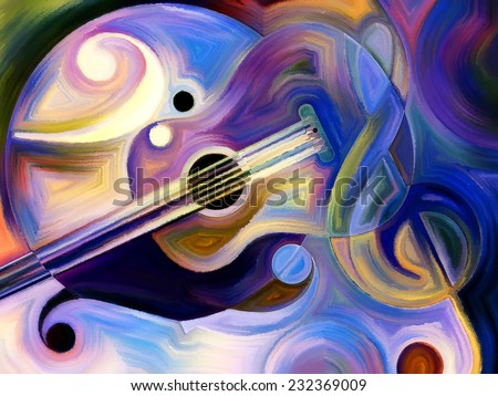 Abstract painting on the subject of music and rhythm - stock photo