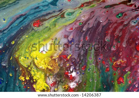 Abstract painting shot in studio lighting still wet. - stock photo