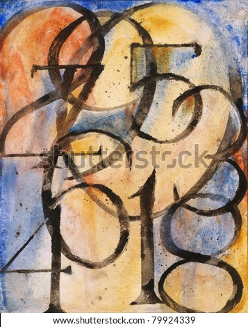 "Abstract Painting - ""0 to 9"" - stock photo"