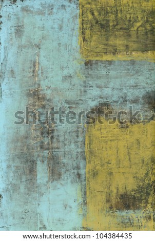 Abstract painting with blue and yellow texture.