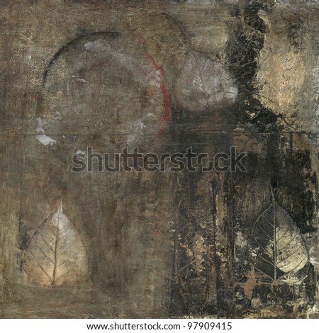 Abstract painting with bodhi leaves and circle. - stock photo