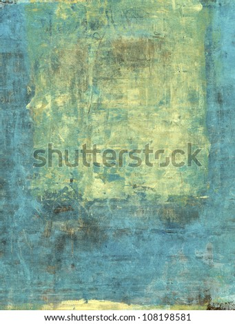 Abstract painting with cyan blue and gold tones.