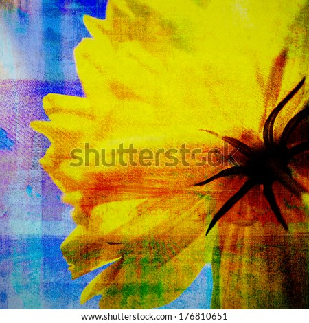 Abstract painting with flower  on canvas texture - stock photo