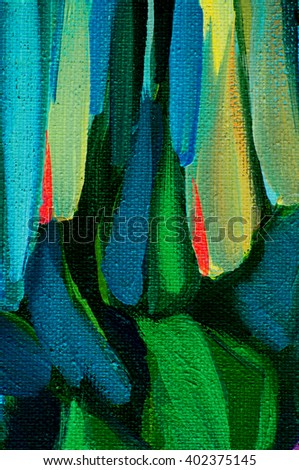 abstract painting with green blue spots, illustration