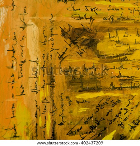 abstract painting with  imitation of  handwritten ancient text, illustration