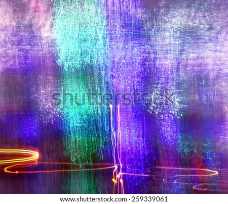 Abstract painting with light with a textured look and colors blue and green  - stock photo