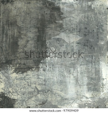 Abstract painting with neutral and grey tones.