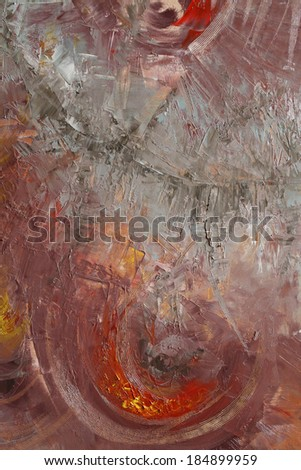 abstract painting with oil paints on canvas - stock photo
