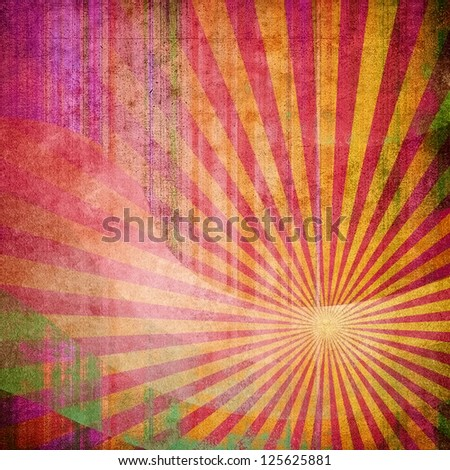 abstract painting with rays pattern - stock photo
