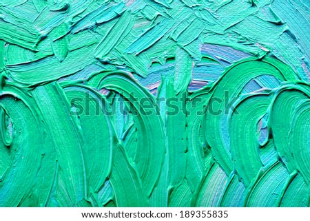 Abstract paintings of green-blue colors embossed decoration - stock photo