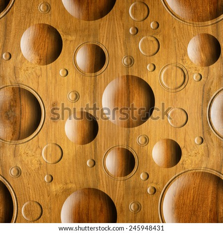 Bubble Decorative Wooden Pattern Seamless Background Stock