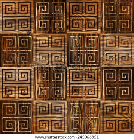 Abstract paneling pattern - seamless background - cassette floor - wood texture - stock photo